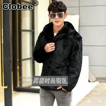 Mens Faux Fur Coats 2017 6XL 2018 long sleeve Faux Mink Coat Men Hooded Winter Jacket rabbit fur thicken warm jackets WR643(China)