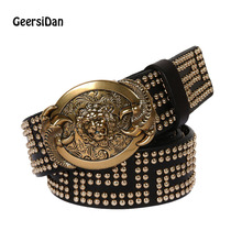 Buy 2017 Top 100% Genuine Leather smooth buckle men Belt Male Wide Cowhide golden small Rivet belts Men Ceinture Black for $37.39 in AliExpress store