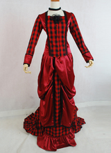 Custom 2016 Hot sale Red /Black Tartan Long Sleeves Victorian Bustle Ball Gowns Dress/Party Costumes For Women