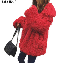 Winter Warm Curly Outwear Ladies Fake Fur Coat Long Hair Furry Coats Women Oversize Faux Fur Wool Open Stitch Females SWQ0298-45