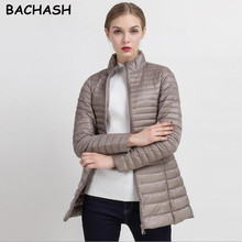 BACHASH Plus Size 4XL 8 Colors Women Casual Ultralight Fashion Jacket With Solid Zip Up Women Winter Long Coat Slim Jacket