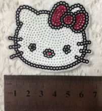 1pcs Hello Kitty Embroidery Patches For Clothing Sequined Patch Applique Badge parches ropa Blouse Dress Jacket DIY Accessories