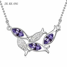 ZK.KH.ONG Fashion animal modeling crystal zircon pendant necklace cluster of fish swim around high quality necklace jewelry N137(China)
