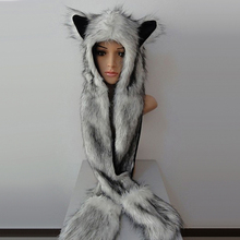 Women Fashion Wolf Ears Paws Faux Fur 3 in 1 Hat Scarf Mittens Winter Warm Cap(China)