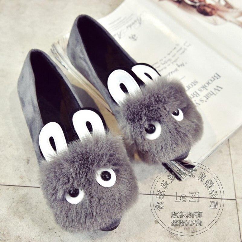 Plain Soft Leather Solid Color Ear Loafers Women Gravida Novelty Gentlewomen Shoes Woman Shoes Jean Faux Fur<br><br>Aliexpress