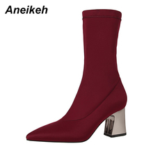 Aneikeh NEW Star Style Women Boots Sexy Pointed Toe Lycra Elastic Female Mid Calf Boots Autumn Winter High Heels Short Boot Shoe(China)