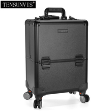 TENSUNVIS Professional Rolling Makeup Case Cosmetic Train Box Trolley black(China)