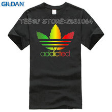 2017 Top Fashion Direct Selling Fashion Tee4u T Shirts For Sale Tall Men O-neck Short-sleeve Addicted Rasta Leaf Shirt(China)