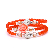 Multilayers Fashion Accessory Bracelets Bangles Simulated Pearls Crystal Red Flower Rhinestone Disco Ball Bracelet for Women
