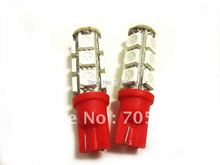 One pair RED W5W WEDGE 5050 3 CHIPS LIGHT 13 SMD LED BULBS LED Car Interior bulbs LED instruction auto lights