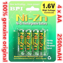 4pcs/lot Original BPI AA 2500mAh 1.6V 1.5V NI-Zn Battery Low self-discharge batteries high persistence rechargeable batteries