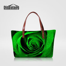 Dispalang Unique Green Rose Female Shoulder Bag For Traveling Women's Shopping Top-handle Bags Flower Ladies Tote Bag For Office(China)