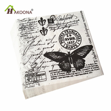 HAKOONA 3 Bags 60 Pieces 3 Layer Paper Fabric Napkin  Black Butterfly Vintage  Pattern Facial Tissue Bar Dessert Party Mats