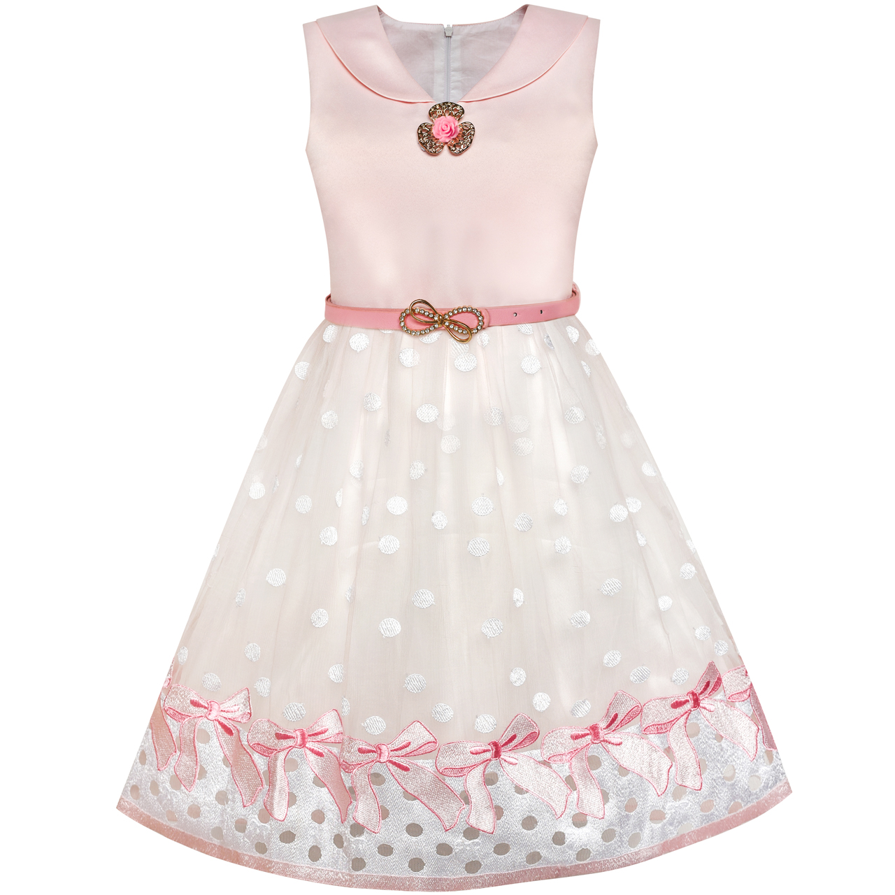 Flower Girl Dress Sailor Collar Pink Belted Bow Tie Elegant Dress 2018 Summer Princess Wedding Party Dresses Clothes Size 7-14