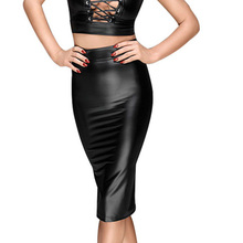 Buy Wetlook Vinyl Leather Black Women Skirt Zipper Back Pencil Club Nightclub High Waist Bodycon Skirt Summer Sexy Latex Skirt