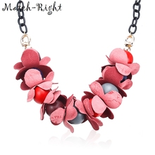 Match-Right Trendy Women Geometric Wooden Necklaces & Pendants Statement Necklace with Fabric Flower for Women Jewelry YZ004(China)