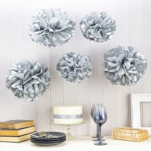 "Metallic Silver 9pc Mix 6""/8""/10"" Tissue Paper Pom Poms Decorative Flower Balls Hanging Decor Showers Party Birthday Wedding"