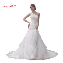 Buy NIXUANYUAN One Shoulder Bride Wedding Gown 2017 White Ivory Tiered Organza Wedding Dress 2017 Ruffles Pleat vestido de noiva for $97.20 in AliExpress store