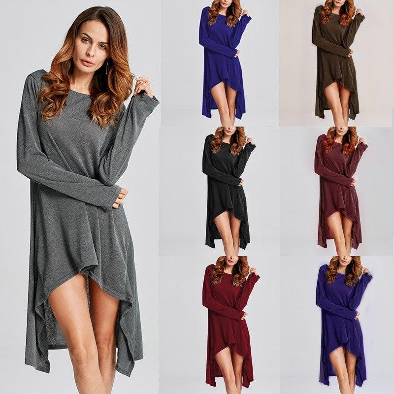 ZANZEA Winter Sweater Dress Vestidos 18 Women Ladies Knitted Casual Long Sleeve Asymmetric Hem Mid-calf Dresses Plus Size 3XL 5
