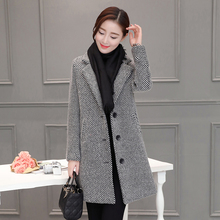 New Winter Dress Coat Wool Coats  Tweed Cloth Coat Women Long Cocoon Korean Fashion Stripe Plus Size Top Buttons Pocket Casual