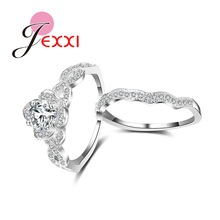 JEXXI Newest Style Women Jewelry 925 Sterling Silver Luxury Austrian Crystal Rings Set Fashion Wedding Engagement Rings(China)