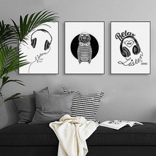 Nordic Modern Black And Write Rock & Roll Music Headphones Space Station Relax And Listen Canvas Painting Art Poster(China)