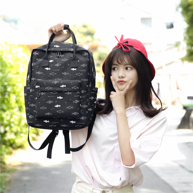 Menghuo Fish Printing Women School Bag Backpack for Teenage Girls Backpacks Female Canvas Children Schoolbag Women Bag s (56)