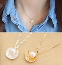 Fashion Minimalist Temperament Imitation Pearl Shell Shaped Pendant Necklace Jewelry Chokers Necklace For Women Clavicle Chain