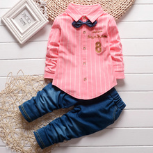 New kids clothing suits boys girls single breasted shirt + trousers 2pcs/set children bowtie clothes spring & autumn wear.(China)