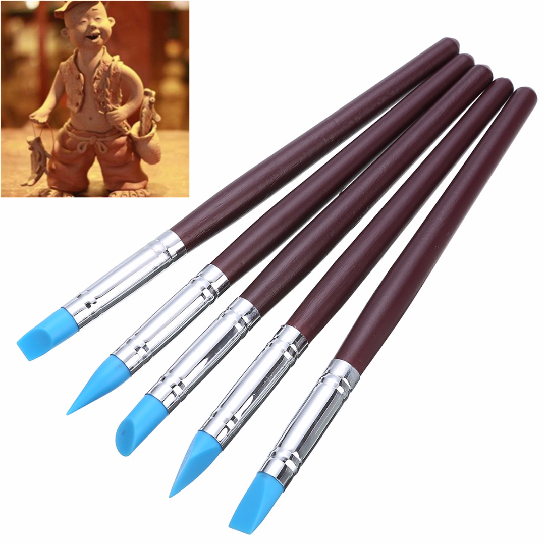 5pcs Soft Silicone Pottery Clay Tool Sculpting Fimo Polymer Modelling Shaper Tools For Hobby Craft
