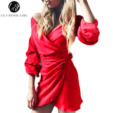 Lily Rosie Girl Red Deep V Neck Wrap Dress Women Bow Lantern Sleeve High Waist Autumn Winter Sexy Party Short Dresses Vestidos