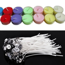 100pcs 10 cm/3.94 inch White Quality Candle Wicks Cotton Core Pre Waxed With Sustainers for DIY Making Candles Gifts(China)