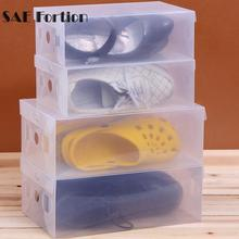 SAE Fortion Shoe Boxes Household Plastic Clear Shoe Boot Box Stackable Foldable Storage Organizer Transparent Shoe Storage Box(China)