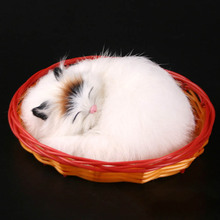 The cat cat nap simulation creative gift Home Furnishing ornaments car accessories toy cat model with basket ornaments(China)