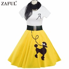 ZAFUL 5 color Women Vintage Dress Animal Print Retro robe 50s Short Sleeves Belts elegant Feminino Rockabilly Dresses Vestidos(China)