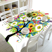Customizable 3D Tablecloth Sunflower Tree Pattern Christmas Washable Thicken Rectangular and Round Table Cloth for Wedding(China)