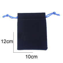 12*10 cm bags 10pc made with swa swan logo velvet bags Dark blue medium flannelette bags jewelry wholesale(China)
