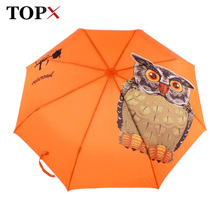 Lightweight Original Animal Owl Printed Automatic 3 Fold Umbrella Women Windproof Sun Protection Clear Kids Umbrella Rain Women(China)
