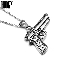 HIP Punk Casting Titanium Stainless Steel Sport Pistol Gun Desert Eagle Pendant Necklace for Men Jewelry(China)