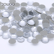 Eco-friendly lead free Lower 90PPM Hot Fix Rhinestone Round Shape Crystal Clear Color Iron on Rhinestone baby studs(China)