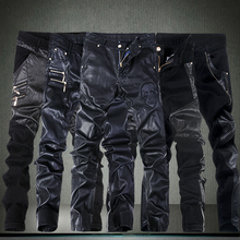2016 Men's Skinny Leather Pants sweat Motorcycle Faux Leather Stitching tight Sweatpant biker joggers black trousers 28-36 male(China)