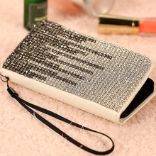 new Bling 3D rhinestone flip diamond phone case PU skin Leather for iphone 6 4.7inch 6 plus 4g 5s 5g 5c luxury Wallet Card Case(China)