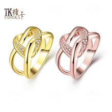 TANGKA fashion double round shape ring shop small CZ stone female Christmas gifts exquisite jewelry quality sales