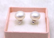 SALE 7-8mm Natural Freshwater Flat White Pearl Earring and Stering Silver 925 stud-ear296 wholesale/retail Free ship(China)