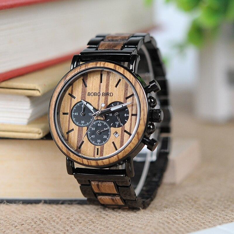 BOBO BIRD Watch Men Metal and Wooden Case Auto Date Male Sport Wristwatch Accept Logo Customize B-P09<br>
