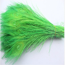 Free shipping 100 PCS green  dyed peacock feather 10-12 inch / 25 to 30 cm peacock feathers for wedding decorations