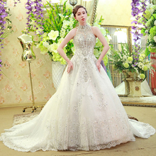 Luxury See Through Back Lace and Beading High Collar Ball Gown Wedding Dresses 2017 with Rhinestone Long Bridal Gowns noiva XW58