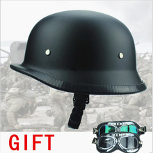 FREE SHIPPING WWII Style BLACK German Motorcycle Half Helmet Chopper Biker Pilot Goggles NEW(China)