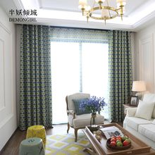 DEMONGIRL 1PC Modern Wave Geometric Design Curtains Decor Blackout Fabric Window Drapes for Living Room Home With Various sizes