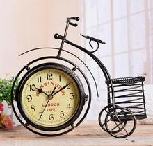 European iron bicycle Home Furnishing decoration ornaments mute iron decorative clock clock(China)